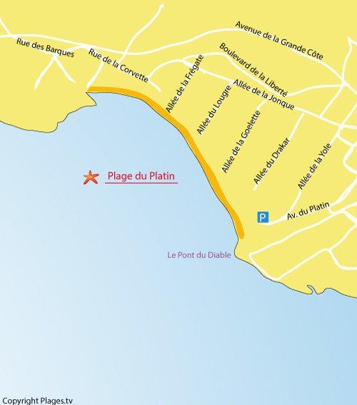 Carte de la plage de Platin à Saint-Palais-sur-Mer