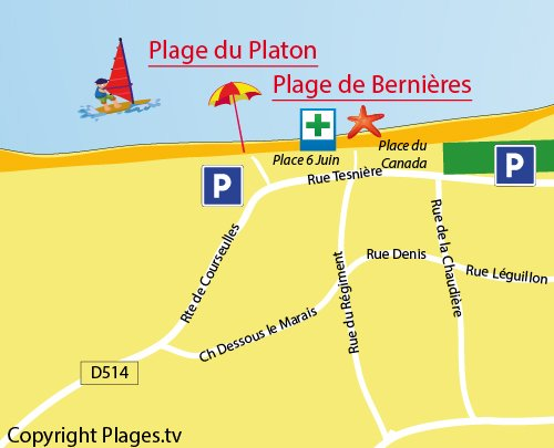 Map of Platon Beach in Bernières sur Mer