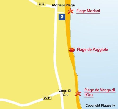 Carte de la plage de Poggiole à Moriani en Corse