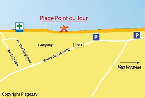 Map of Point du Jour Beach in Merville-Franceville