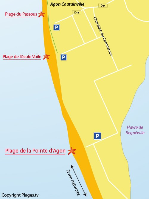 Map of Agon Beach in Coutainville