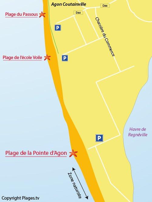 Carte de la plage de la Pointe d'Agon à Coutainville