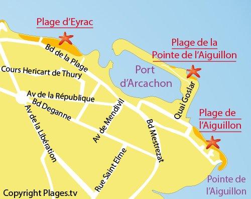 Carte de la plage de la Pointe de l'Aiguillon à Arcachon