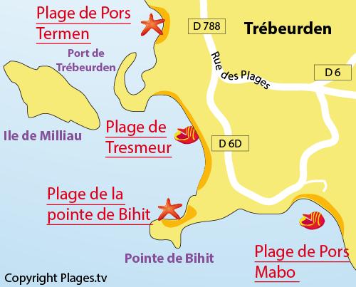 Carte de la plage de la pointe de Bihit à Trébeurden