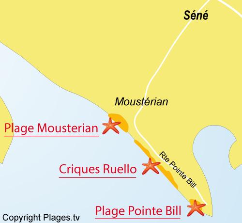 Carte de la plage de la Pointe du Bill à Séné