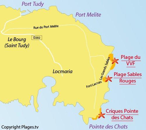 Carte de la plage de la pointe aux chats - Ile de Groix