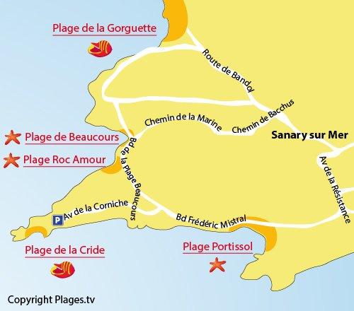Map of Cride Beach - Sanary sur Mer