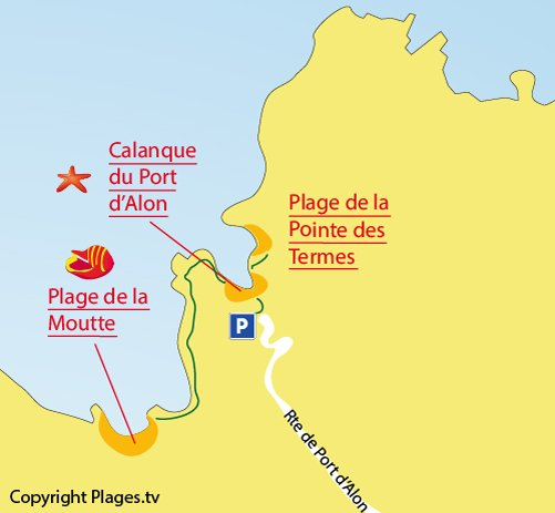 Map of Pointe des Termes Beach in St Cyr sur Mer