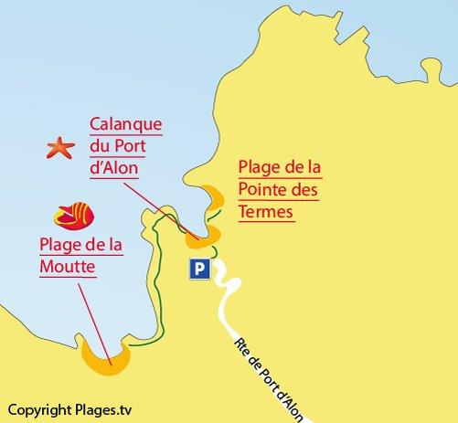 Mappa della Spiaggia della Punta delle Terme  a St Cyr sur Mer