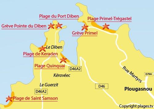Carte de la plage au niveau de la pointe du Diben à Plougasnou