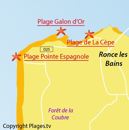 Map of Pointe Espagnole Beach in La Tremblade
