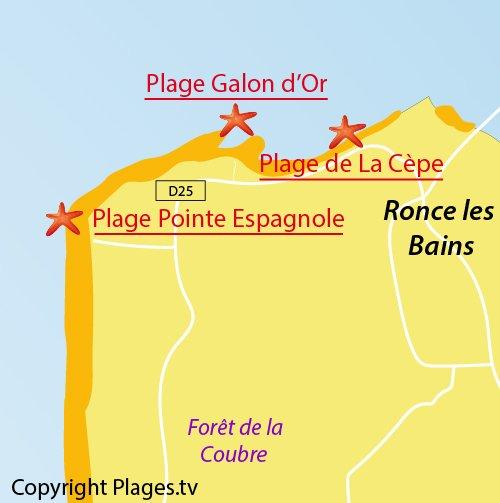 Carte de la plage de la Pointe Espagnole à La Tremblade