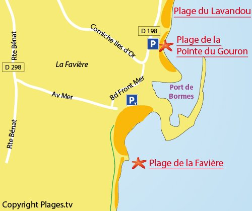Map of the Pointe de Gouron Beach in Bormes les Mimosas