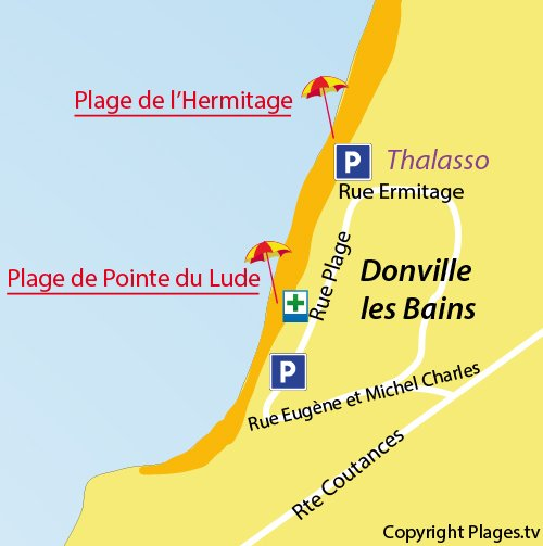 Map of central beach in Donville - Point of Lude
