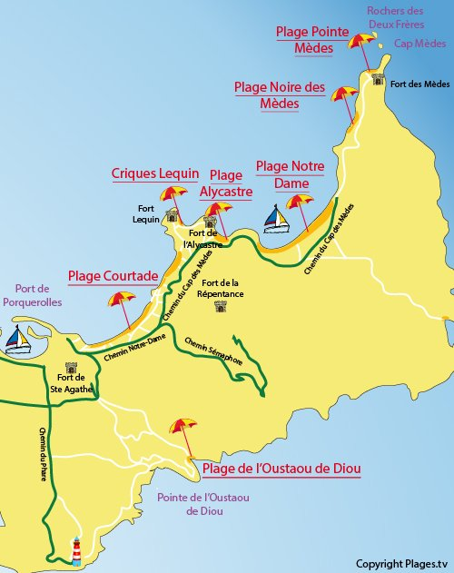 Map of Pointe des Medes Beach in Porquerolles