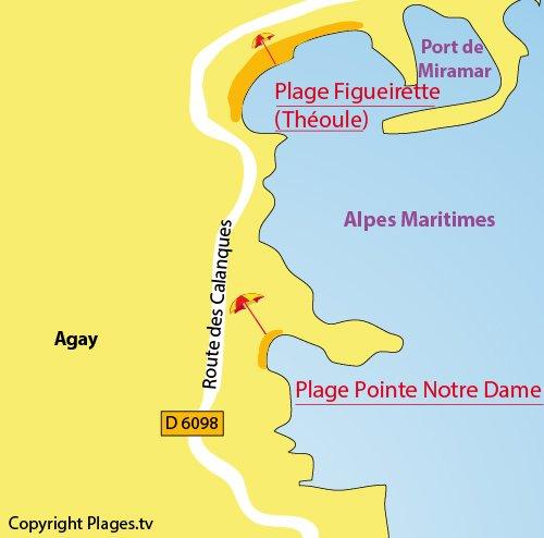Plan de la plage de la Pointe Notre Dame à Agay