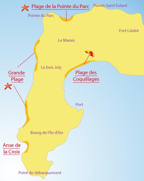 Carte de la plage de la Pointe du Parc sur l'Ile d'Aix