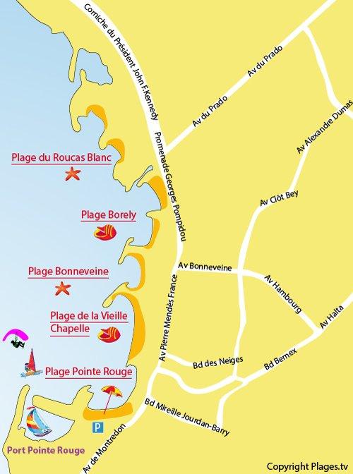 Plan de la plage de la Pointe Rouge à Marseille