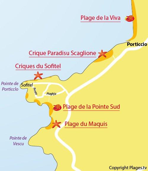 Carte de la plage de la Pointe Sud de Porticcio