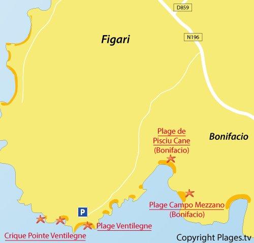 Carte des criques au niveau de la pointe de Ventilegne à Figari