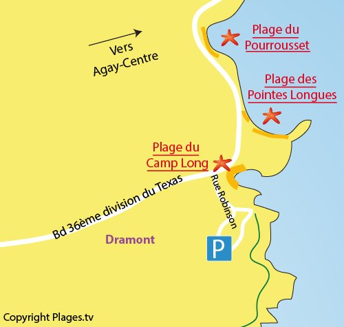 Map of Pointes Longues Beach in Agay