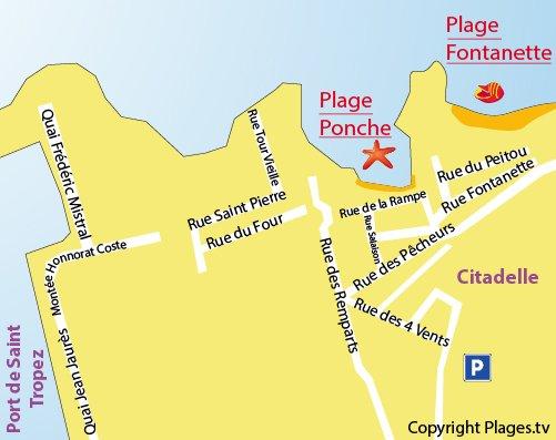 Carte de la plage de la Ponche à Saint Tropez