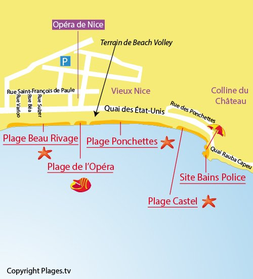 Map of the Ponchettes Beach in Nice