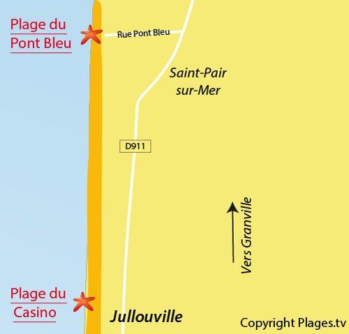 Carte de la plage du Pont Bleu de Jullouville
