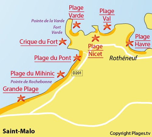 Map of the Pont Beach in Saint-Malo - Rothéneuf