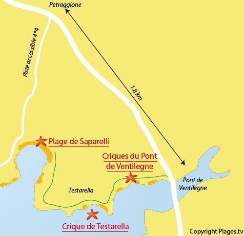 Carte des criques autour du pont de Ventilegne à Bonifacio