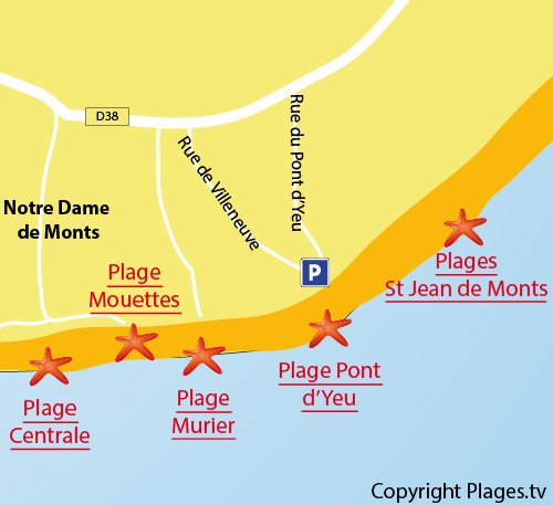 Map of Pont d'Yeu Beach in Notre Dame de Monts
