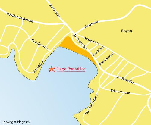 Carte de la plage de Pontaillac à Royan