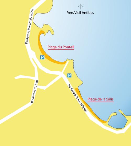 Carte de la plage du Ponteil à Antibes