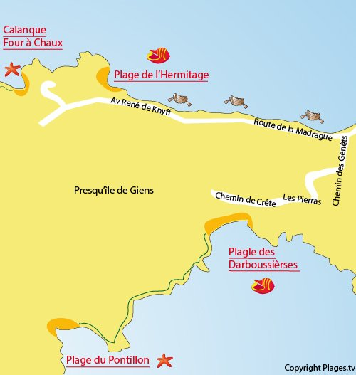 Map of Pontillon Escampo Bariou Beach in Hyères
