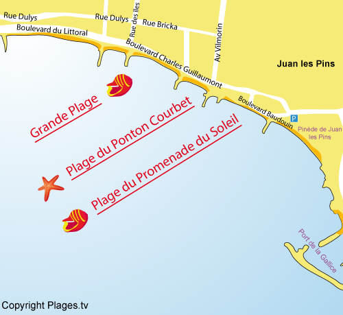 Map of Ponton Courbet Beach in Juan les Pins