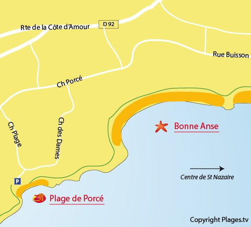 Map of Porcé Beach in St Nazaire