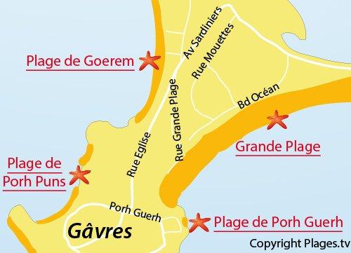 Map of Porh Guerh Beach in Gavres