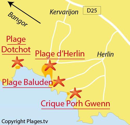 Carte de la plage de Porh Gwenn à Belle Ile