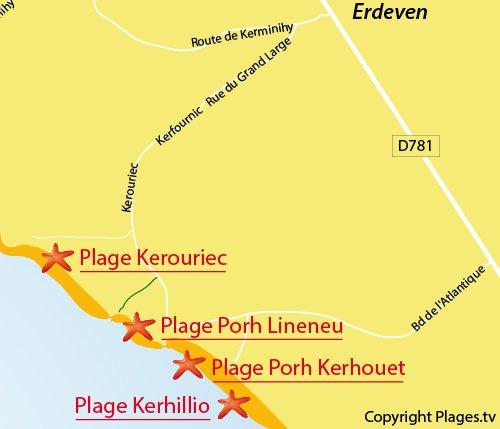 Map of Porh Lineneu Beach in Erdeven