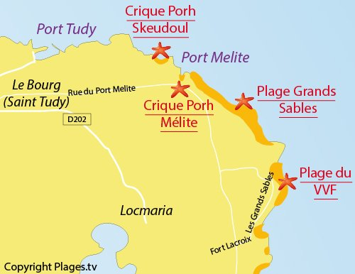 Map of Porh-Mélite Beach - Groix island