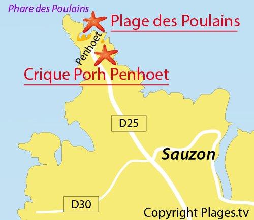 Carte de la crique de Porh Penhoet à Belle Ile en Mer