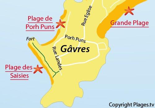 Map of Porh Puns Beach in Gavres