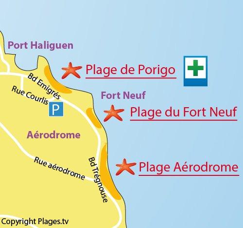 Map of Porigo Beach in Quiberon