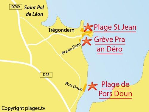 Carte de la plage de Pors Doun à St Pol de Léon