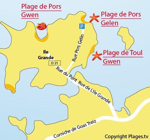 Carte de la plage à côté de la base nautique de l'Ile Grande (Pleumeur Bodou)