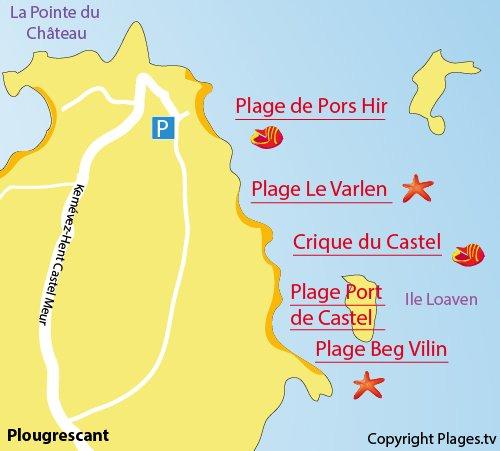 Carte de la plage de Pors Hir à Plougrescant