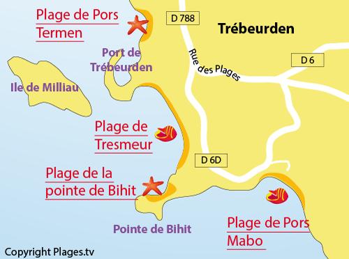 Carte de la plage de Pors Mabo à Trébeurden