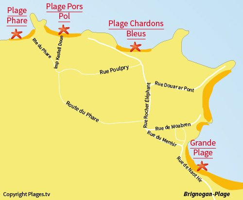 Carte de la plage de Pors Pol à Brignogan