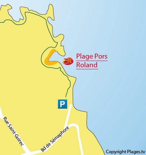 Map of Pors-Rolland Beach in Ploumanach