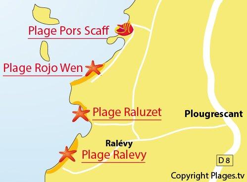 Carte de la plage de Pors Scaff à Plougrescant
